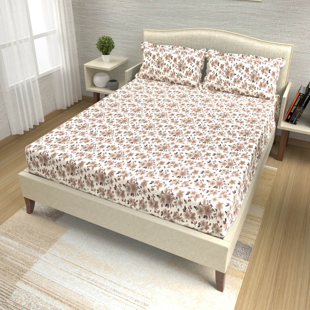 buy floral brown cotton double bed bedsheets online – side view