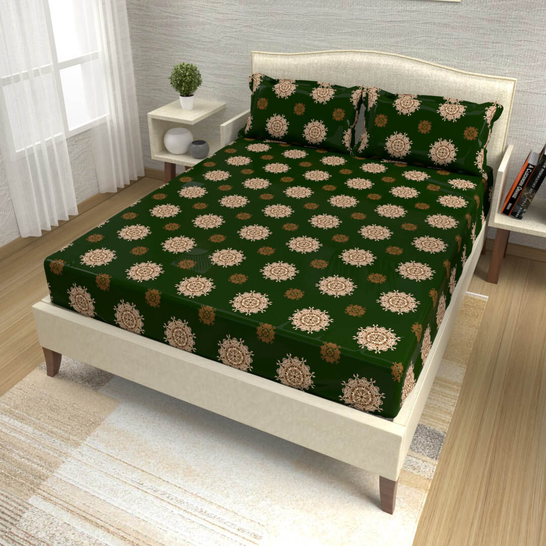 buy forest green mandala cotton double bed bedsheets online – side view