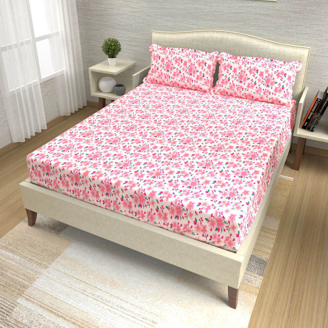 buy fuschia pink delicate floral cotton double bed bedsheets online – side view