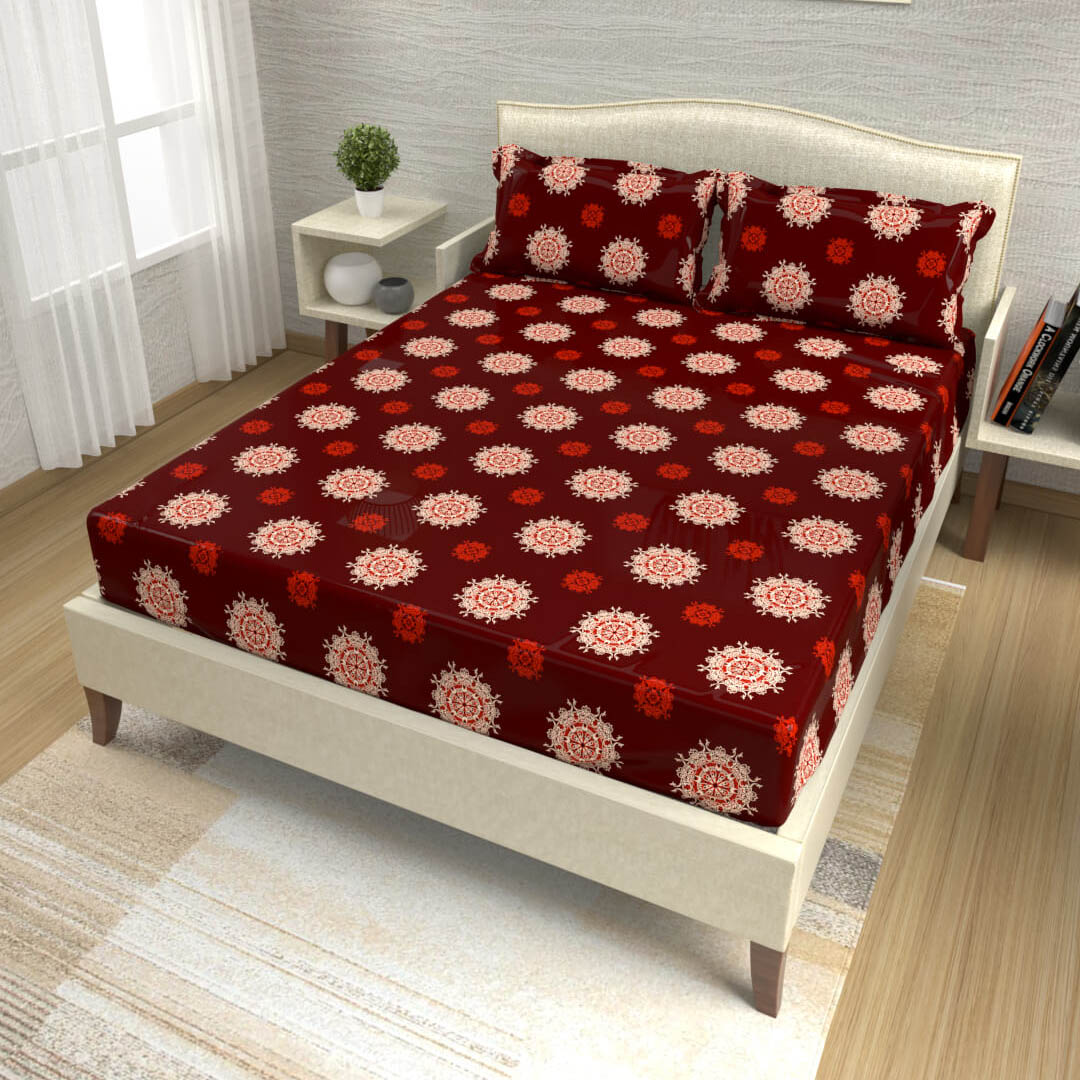 buy maroon mandala cotton double bed bedsheets online – side view