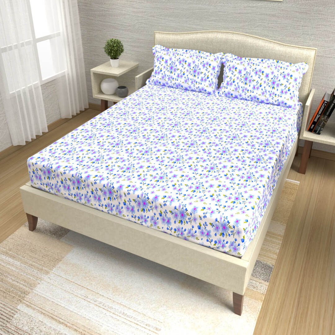 buy purple and blue delicate floral cotton double bed bedsheets online – side view