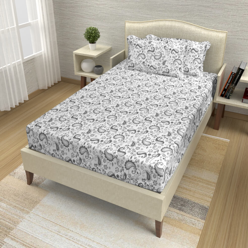 buy ash grey paisley cotton single bed bedsheets online – side view