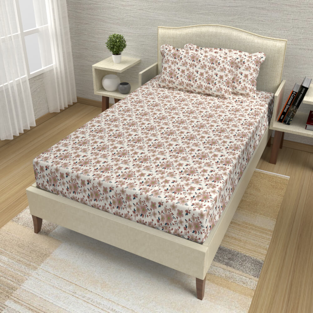 buy floral brown cotton single bed bedsheets online – side view