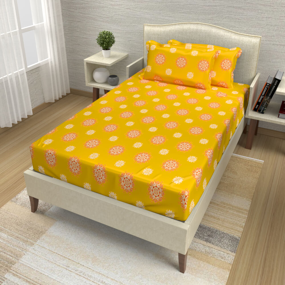 buy chrome yellow mandala cotton single bed bedsheets online – side view