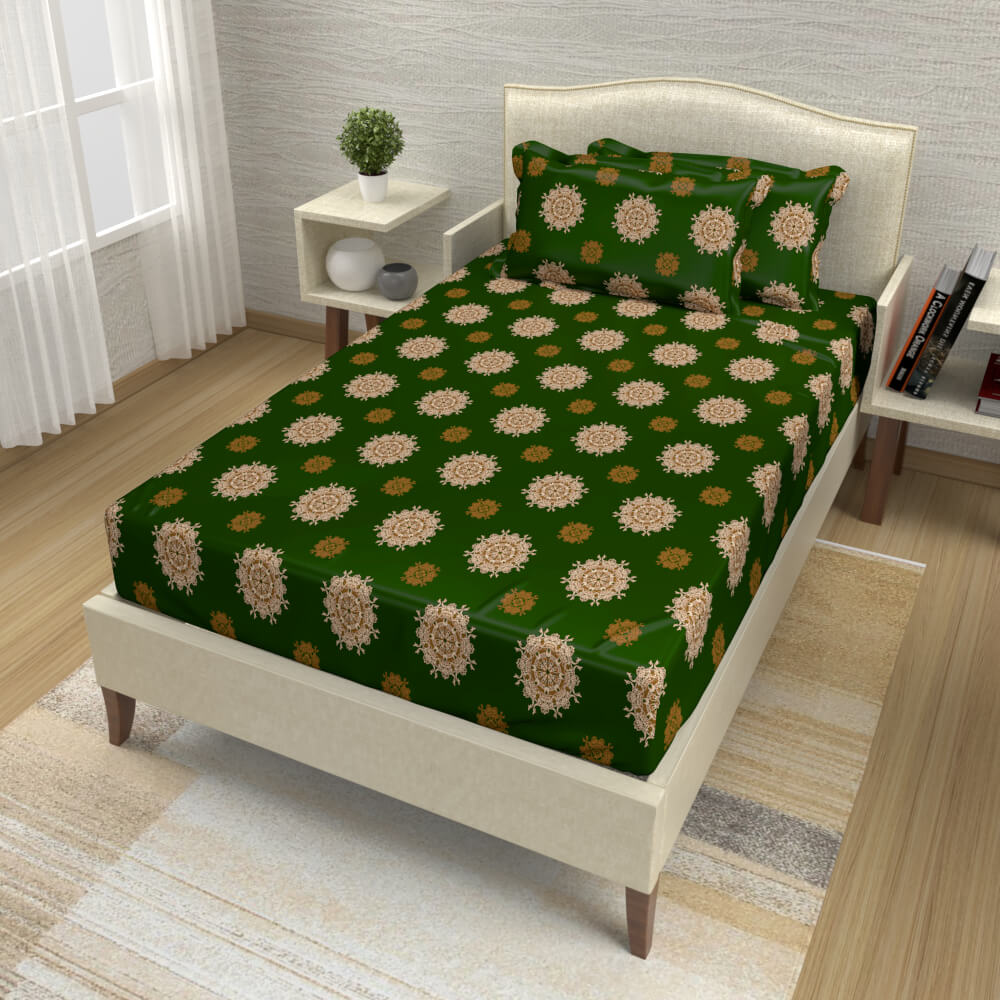 buy forest green mandala cotton single bed bedsheets online – side view