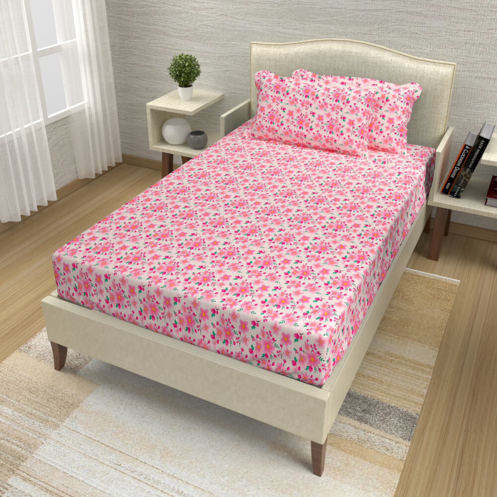 buy fuschia pink delicate floral cotton single bed bedsheets online – side view