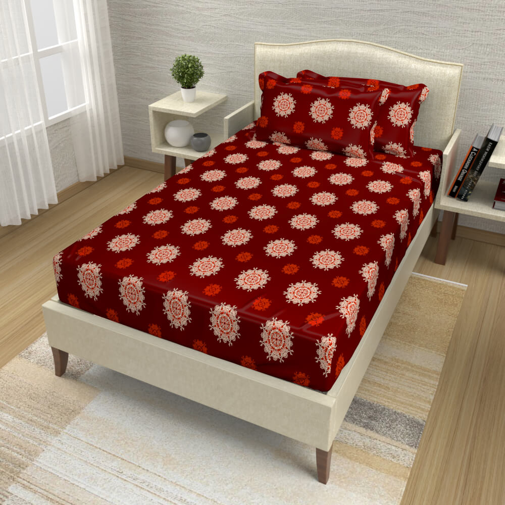 buy maroon mandala cotton single bed bedsheets online – side view