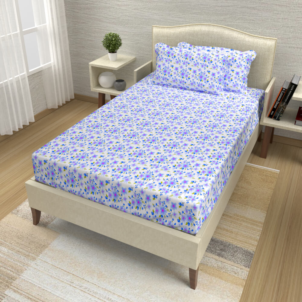 buy purple and blue delicate floral cotton single bed bedsheets online – side view