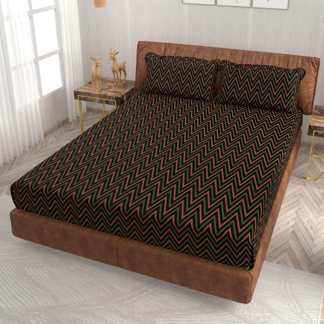 buy zig zag black super king size cotton bedsheets online – side view
