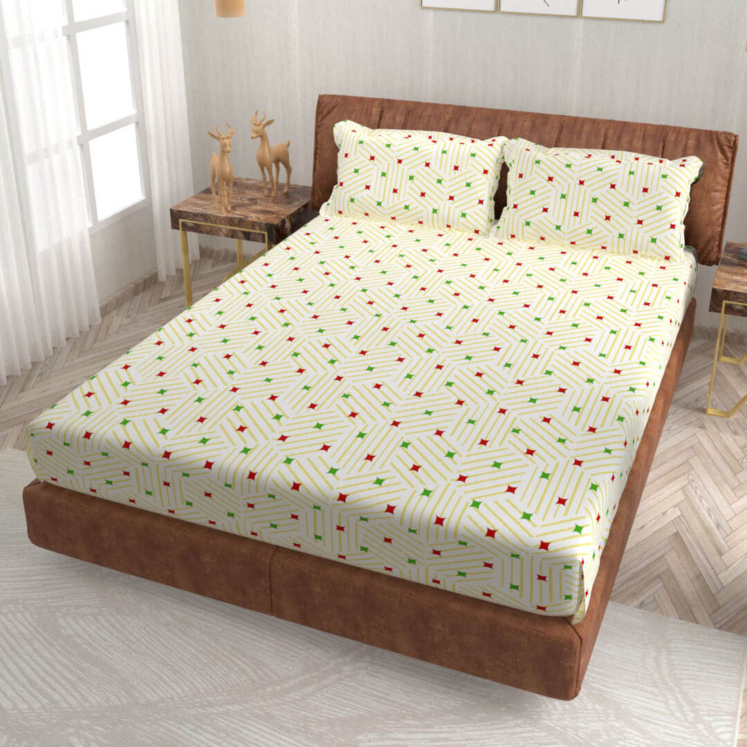 buy cream geometric super king size cotton bedsheets online – side view