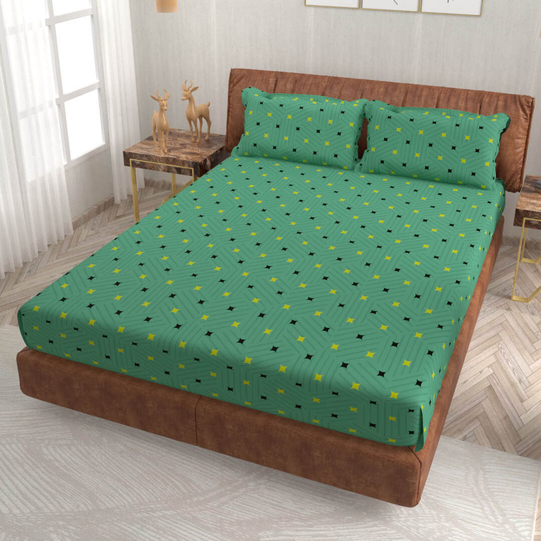 buy jade green geometric super king size cotton bedsheets online – side view
