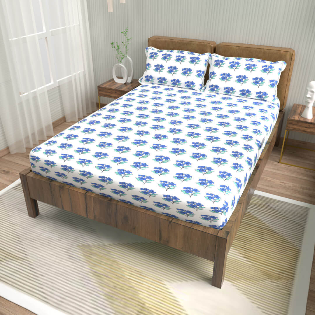 buy zig zag frost white cotton double bed fitted bedsheets online – side view