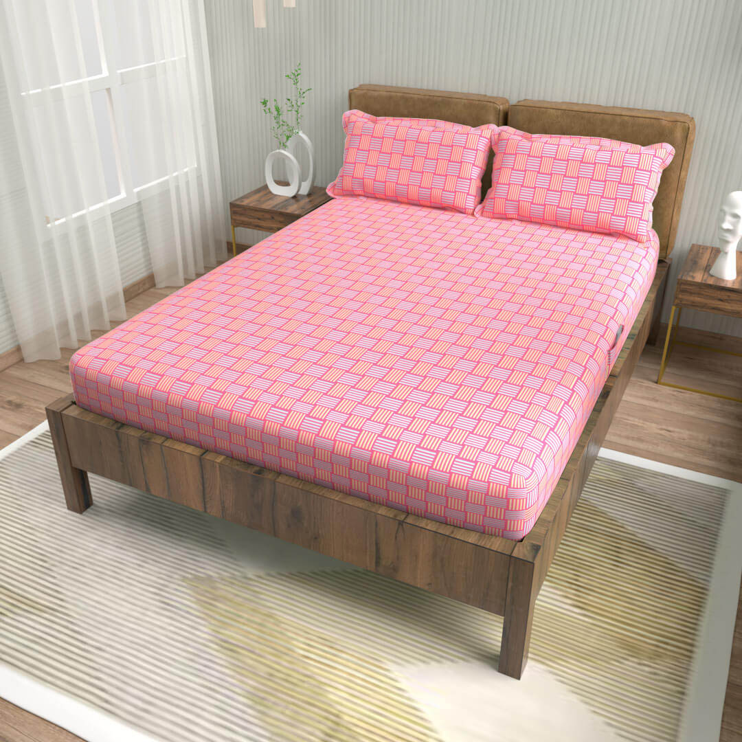 buy geometric taffy pink cotton double bed fitted bedsheets online – side view
