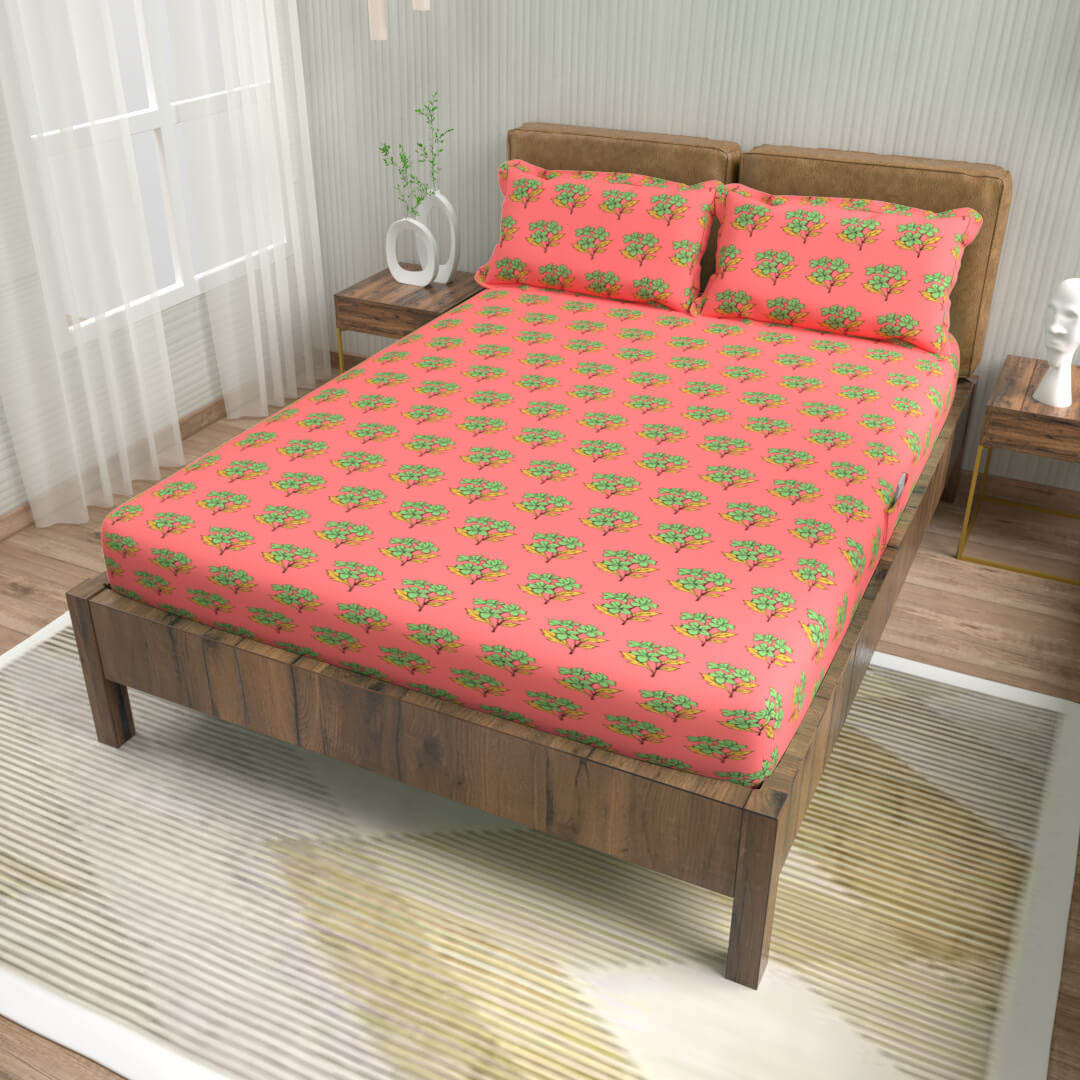 buy zig zag tangerine cotton double bed fitted bedsheets online – side view