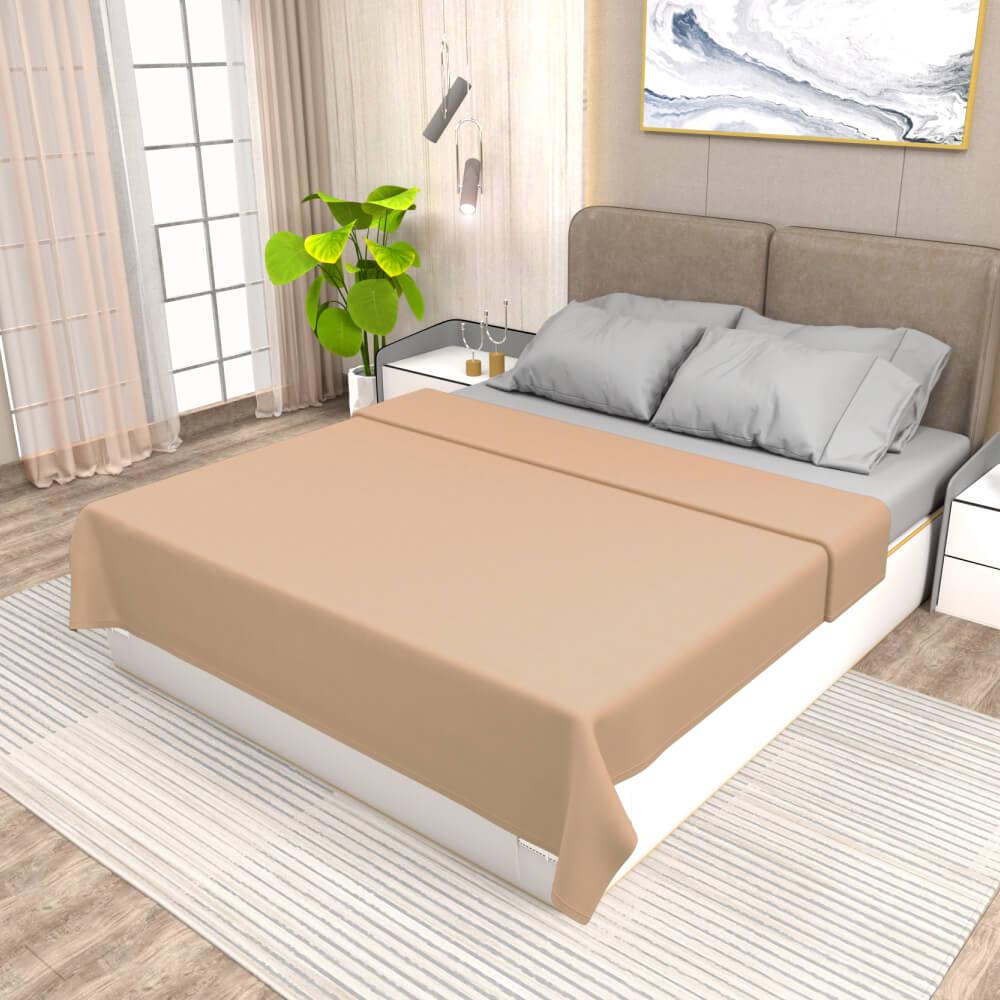 buy beige winter double bed blanket - side view