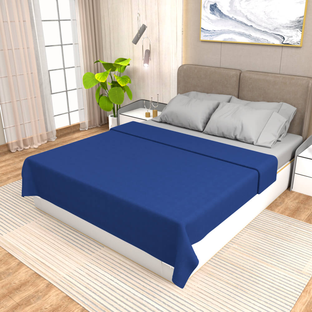 buy blue winter double bed blanket - side view