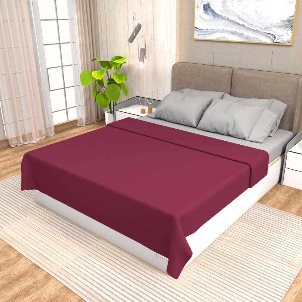 buy maroon winter double bed blanket - side view