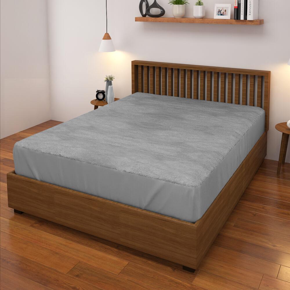 buy grey waterproof mattress protector online – side view